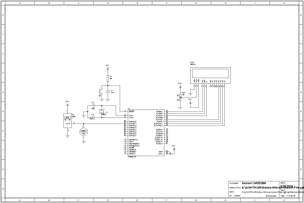 running led and temperature sensor circuit